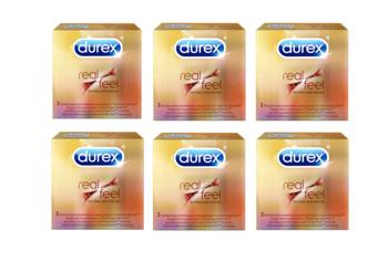 Zestaw prezerwatyw Durex Real Feel - 3 sztuki - 6 opakowań